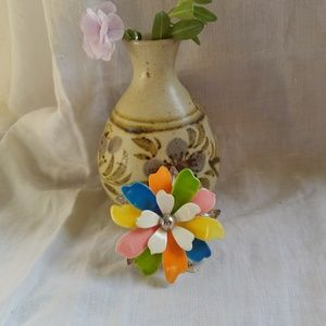 Vintage Multi-color Flower Brooch